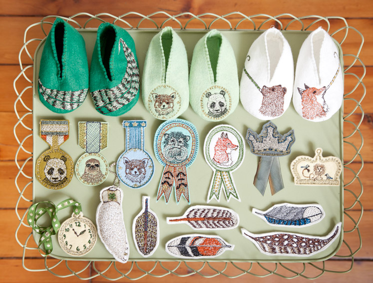badges, medals, booties and feathers